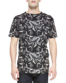Mens Allover Snake Print Tee, Dark Gray   Marcelo Burlon   Dark gray (XXL)