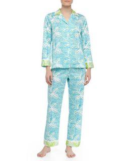 Womens Garden Oasis Sateen Leaf Print Pajamas, Blue/Green   Oscar de la Renta