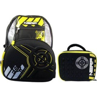 "Nerf Yellow and Black 16"" Backpack w/ Lunch Bag: Kitchen & Dining"