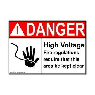 ANSI DANGER High Voltage Require Area Kept Clear Sign ADE 3765  Business And Store Signs