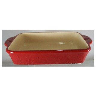 Signature Housewares Sorrento Collection 9 Inch by 13 Inch Stoneware Baking Dish, Ruby Antiqued Finish Sorrento Casserole Kitchen & Dining