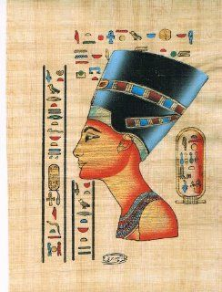 Hand Painted in Egypt Natural Papyrus Shows Queen Nefertiti, Egypt's Most Beautiful Queen Nefertiti Was the Great Royal Wife of the Egyptian Pharaoh Akhenaten. Nefertiti and Her Husband Were Known for a Religious Revolution, in Which They Worshiped One