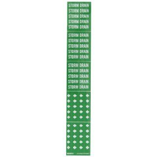 """Brady 7273 3C 2 1/4"""" Height, 2 3/4"""" Width, B 946 High Performance Vinyl, White On Green Color Self Sticking Vinyl Pipe Marker, Legend """"Storm Drain"""", For 3"""" Or Less Outside Pipe Diameter Industrial Pipe Markers Industrial & Sc"""