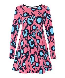 Meme Neon Pink Floral Print Long Sleeve Swing Dress