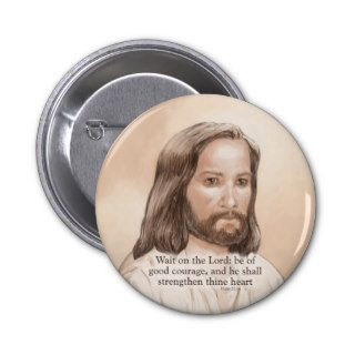 Sepia Jesus Art Bible Quote   Psalm 27:14 Button