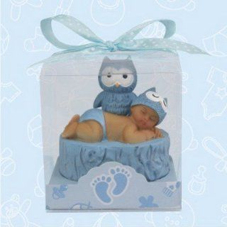 De Yi 21024K BL Ethnic Baby Shower Owl Favors in Blue   Set of 12   Party Favors