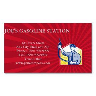Gas Jockey Gasoline Attendant Fuel Pump Nozzle Business Card Templates