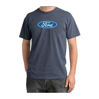 CLASSIC FORD OVAL Logo Car Adult Pigment Dyed T shirt   Scotland Blue: Clothing