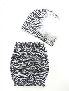 Jamie Rae Zebra Pipette Top and Hat Set with White Curly Marabou: Clothing