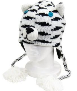 Kids White Tiger Trooper Winter Hat   One Size Fits Most   Knit Winter Cap: Clothing
