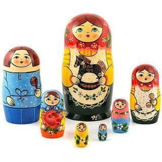 Traditional Matryoshka with a Rocking Horse, Handmade Hand painted Russian Wooden Nesting Doll  Other Products
