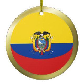 Ornamento de la bandera de Ecuador Adornos De Navidad de