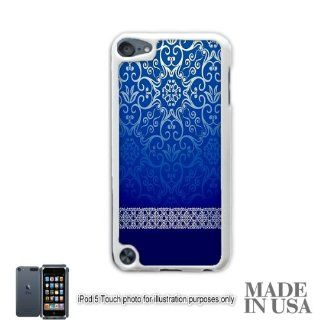 Live the Life You Love (Not Actual Glitter)   Vintage Blue Gold Damask Pattern Lace iPod Touch 5 5G Hard Case   WHITE by Unique Design Gifts: Cell Phones & Accessories