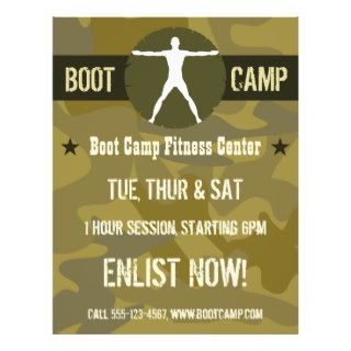 Body Madness Green Camo Boot Camp Fitness Flyers Full Color Flyer