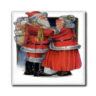3dRose ct_78761_1 Mr. and Mrs. Claus Vintage, Vintage Christmas, Cute, Nostalgic, Father Christmas, Santa Claus Ceramic Tile, 4 Inch