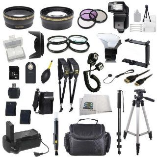 The EVERYTHING YOU NEED Package for Nikon D5100, Nikon D5200 Digital SLR Cameras. Includes Wide Angle & Telephoto Lenses, Filters, Replacement EN EL14 Batteries, Flash, Tripod, Monopod, Case, 32GB Memory Card, Dual Neck Strap & Much Much More  D