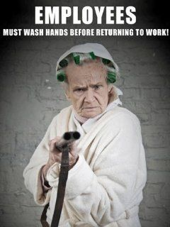 """Employees Must Wash Hands Before Returning to Work Poster Sign, 18"""" x 24"""" Laminated. A helpful and amusing reminder, ideal for public restroom at restaurant, bar, health club and work office. : Business And Store Signs : Office Products"""