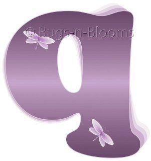 """q"" Purple Dragonfly Alphabet Letter Name Wall Sticker   Decal Letters for Children's, Nursery & Baby's Room Decor, Baby Name Wall Letters, Girls Bedroom Wall Letter Decorations, Child's Names. Dragonflies Mural Walls Decals Baby"