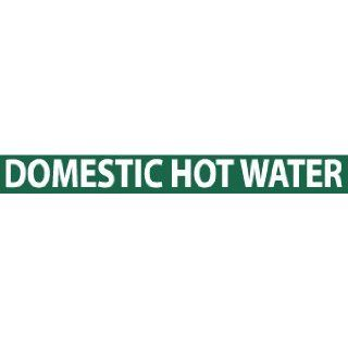 "NMC B1286G Pipemarkers Sign, Legend ""DOMESTIC HOT WATER"", 9"" Length x 1"" Height, 3/4"" Letter Size, Pressure Sensitive Vinyl, White on Green (Pack of 25): Industrial Pipe Markers: Industrial & Scientific"