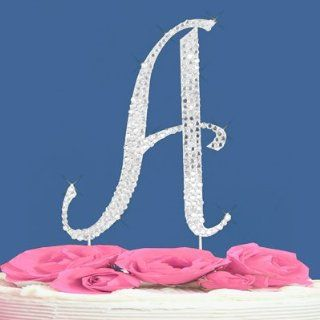 Fully Covered in Crystal Monogram Wedding Cake Topper Letter   Letter A Kitchen & Dining