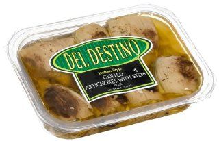Del Destino Italian Style Grilled Artichoke Hearts With Stem in Oil, 13.75 Ounce Trays (Pack of 5)  Artichokes Produce  Grocery & Gourmet Food