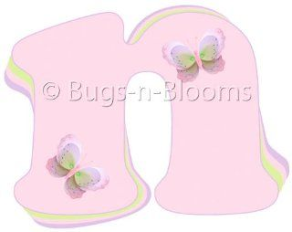 """""""n"""" Pink Purple Green Butterfly Alphabet Letter Name Wall Sticker   Decal Letters for Children's, Nursery & Baby's Room Decor, Baby Name Wall Letters, Girls Bedroom Wall Letter Decorations, Child's Names. Butterflies Mural Walls D"""