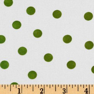 44'' Wide Rose Cottage Dots White/Lime Fabric By The Yard