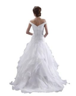 DAPENE Woman Off Shoulder Chapel Empire Yarn Bridal Gown Wedding Dress at  Women�s Clothing store: