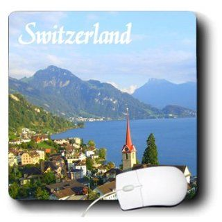 mp_155661_1 InspirationzStore Photography   Switzerland tourist travel souvenir   Swiss landscape photo of pretty lake town Weggis near Lucerne   Mouse Pads : Office Products