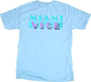 Miami Vice Logo Mens Light Blue T shirt Clothing