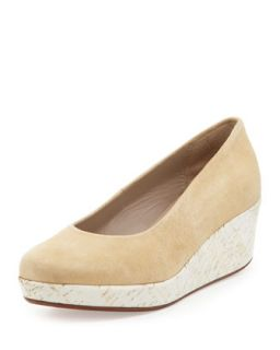 Sari Painted Cork Suede Wedge, Camel/White   Jacques Levine   Camel/White (40.