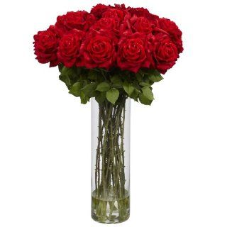 Nearly Natural 1214 Giant Rose Silk Flower Arrangement, Red   Artificial Mixed Flower Arrangements