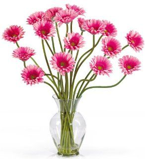Nearly Natural 1086 PK Gerber Daisy Liquid Illusion Silk Flower Arrangement, Pink   Artificial Mixed Flower Arrangements