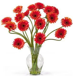 Nearly Natural 1086 OR Gerber Daisy Liquid Illusion Silk Flower Arrangement, Orange   Artificial Mixed Flower Arrangements
