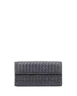 Woven Deerskin Continental Flap Organizer Wallet, New Lt. Gray   Bottega Veneta