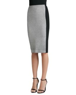 Womens Birdseye Tweed Knit Skirt with Contrast Crepe Marocain   St. John