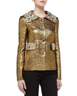 Womens Rhinestone Studded Brocade Jacket, Gold   Michael Kors   Gold (2)
