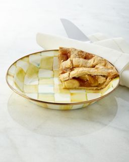 Parchment Check Pie Plate   MacKenzie Childs