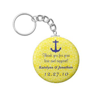 Navy Blue Anchor on Yellow Wedding Favor Key Ring Key Chains