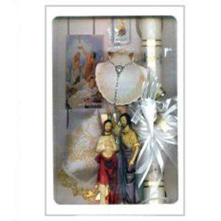 Baptismal Gift Set in Spanish with Candle, Handkerchief, Rosary, Missal, Shell, and Keepsake (Conjunto de Bautizo para Nino con Vela, Panuelo, Rosario, Misal, Cascara y Recuerdo): Jewelry