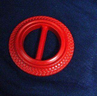 """Vintage 1940's 50's Mid Century Round Red Lucite Belt Buckle 2.5""""D"""
