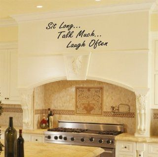 Sit Long, Talk Much, Laugh Often Kitchen Vinyl Wall Decals Sticker Quote Decor Art for Home