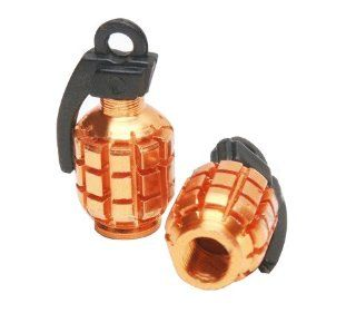 2 Metal Grenade Bike Car Tire Tyre Valve Dust Cap Cover Yellow: Automotive