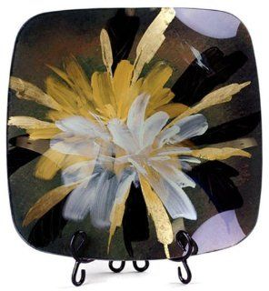 Cressida Glassware Signature Handpainted Fused Glass Pieces Full Bloom Series White Burst and Gold Leaf 15 Inch by 15 Inch Square Plate with Glass Ball Legs and Metal Stand   Decorative Plates