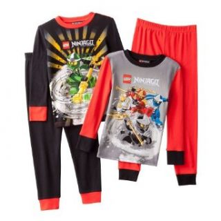 Lego Ninjago 4 pc. Pajama Set   Boys 8 20 (10, Black/Grey) Clothing