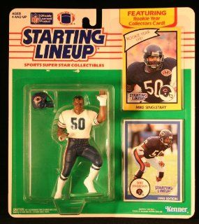 MIKE SINGLETARY / CHICAGO BEARS 1990 NFL Starting Lineup Action Figure & 2 Exclusive NFL Collector Trading Cards Toys & Games