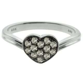 0.29 Ct Round Natural Diamond Sterling Silver Heart Shape Ring: Jewelry