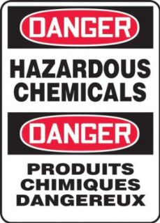 "Accuform Signs FBMCHL267VA Aluminum French Bilingual Sign, Legend ""DANGER HAZARDOUS CHEMICALS/DANGER PRODUITS CHIMIQUES DANGEREUX"", 14"" Width x 20"" Length x 0.040"" Thickness, Black/Red on White: Industrial Warning Signs: Industrial"
