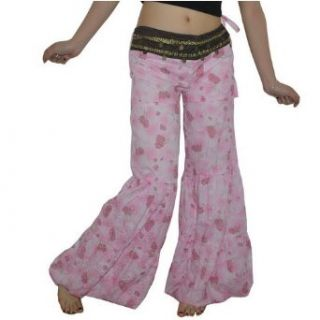 Womens Pink Belly Dance Costume Harem Pants. Sexy looking, stylish pants with decorated coins. Great to wear for Bellydancing and Middle Eastern and Turkish Dancing.(One Size Fits All) (Size: 5): Clothing