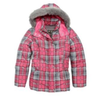 Big Chill Plaid Bubble Hem Girls Jacket Size 4 Pink/Gray : Down Alternative Outerwear Coats : Baby